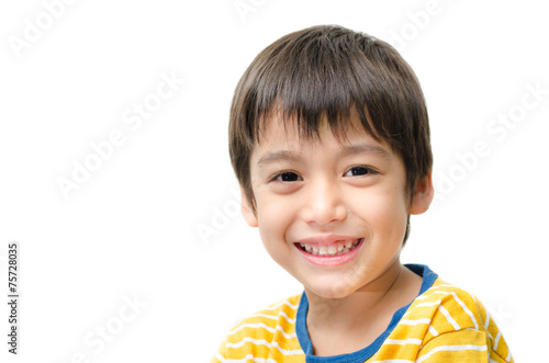 Fotografie, Obraz  Little boy portrait close up face on white background