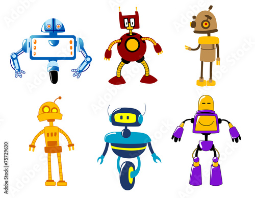 Garden Poster Robots Cute colorful retro robot toys