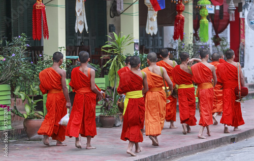 monks in luang prabang Wallpaper Mural