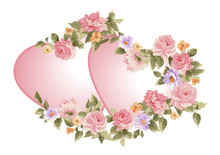 Pair Of Hearts In A Frame Of Flowers.