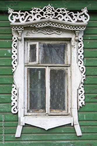 Fotografering  Rostov the Great. Window with carved architraves