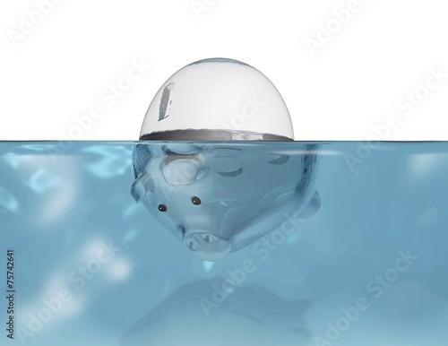 Piggy bank under water. Poster