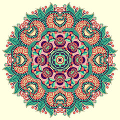beautiful vintage circular pattern of arabesques, floral round