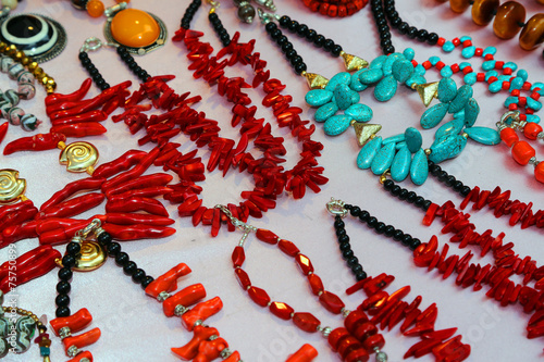Fotografie, Obraz  necklace with pearls  on sale in the market