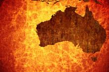 Grunge Vintage Scratched Australia Map Background.