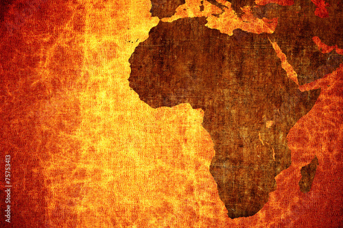 La pose en embrasure Afrique Grunge vintage scratched Africa map background.