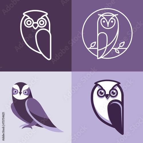 Photo Stands Owls cartoon Set of owl logos and emblems