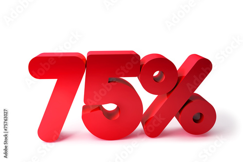 75% 3D Render Red Word Isolated in White Background Poster