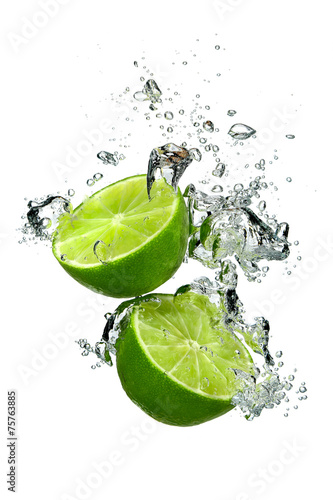 Poster Eclaboussures d eau Lime and water drops