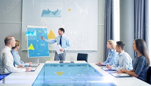 Fototapeta group of smiling businesspeople meeting in office obraz