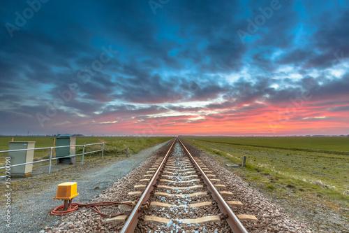 Keuken foto achterwand Spoorlijn Eternal railroad perspective under fantastic sky