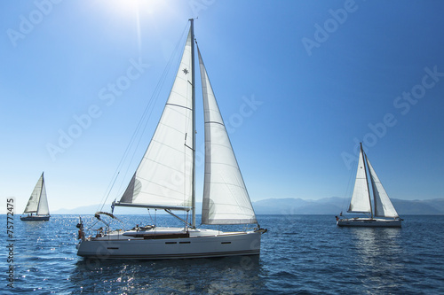 Boats in sailing regatta. Sailing. Luxury yachts. Canvas-taulu