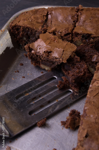 Valokuva  Brownies in baking sheet