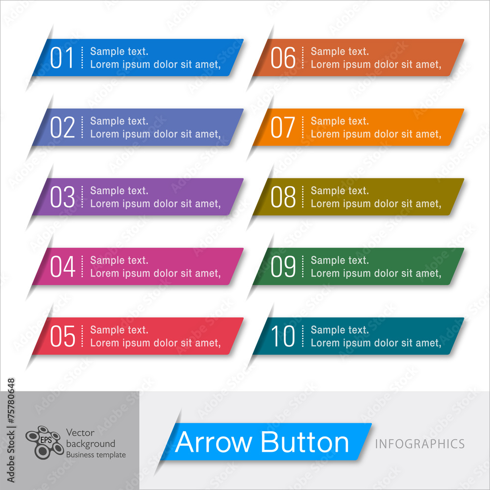Fototapeta Infographic Vector Arrow Button