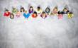 Leinwanddruck Bild - Diversity of Children Aspiration Future Looking up Concept
