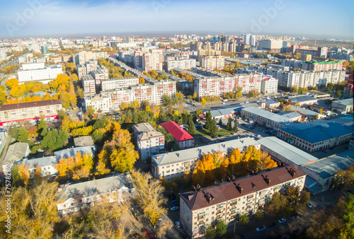 In de dag Centraal Europa Tyumen city quarters from helicopter. Russia