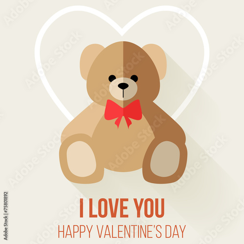 Wall Murals Bears Teddy Bear Valentine's Day Card, Vector Flat Design