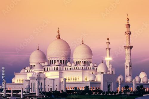 Poster Abou Dabi Abu Dhabi Sheikh Zayed Mosque at sunset