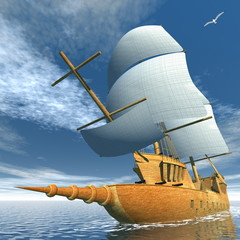 Fototapeta Żagle Old ship - 3D render