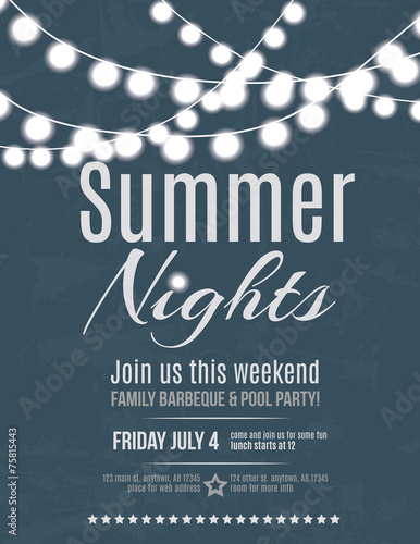 Fotografía  Elegant summer night party invitation flyer template