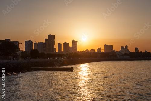 Poster de jardin Havana Kuwait City waterfront at sunset. Middle East