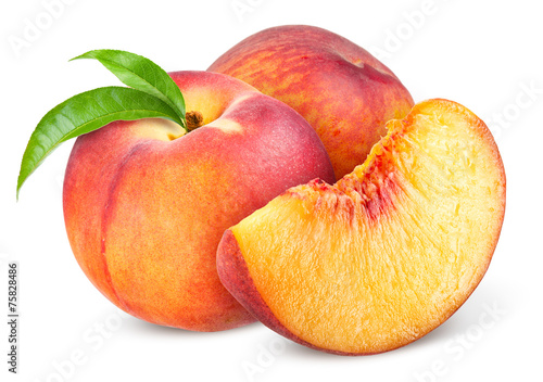 Peach. Fruit with slice isolated on white background Fototapete