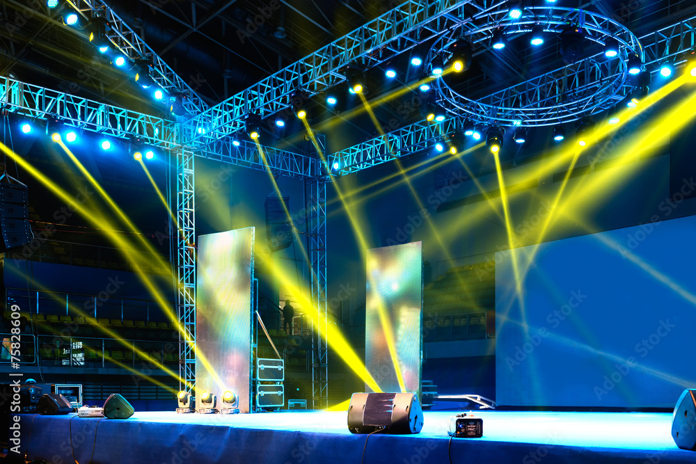 Fototapeta Vector Stage Spotlight with Laser rays