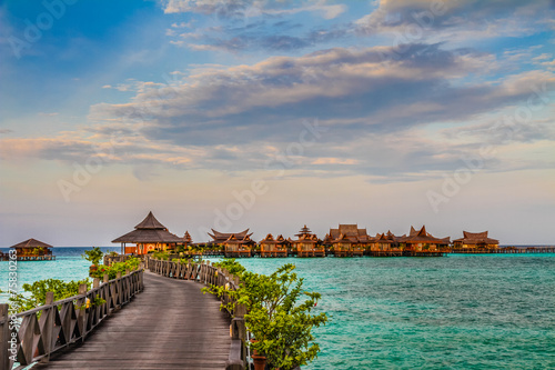 Photo Water bungalows at Mabul Island - Borneo, Malaysia