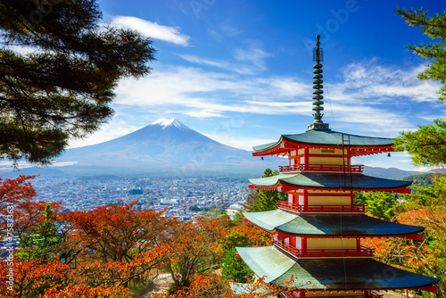 Canvas Prints Japan Mt. Fuji with Chureito Pagoda, Fujiyoshida, Japan