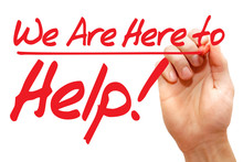Hand Writing We Are Here To Help With Red Marker