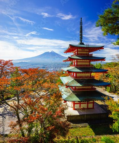 Foto op Plexiglas Japan Mt. Fuji with Chureito Pagoda, Fujiyoshida, Japan