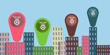 Flat Design You Are Here City Map Marker
