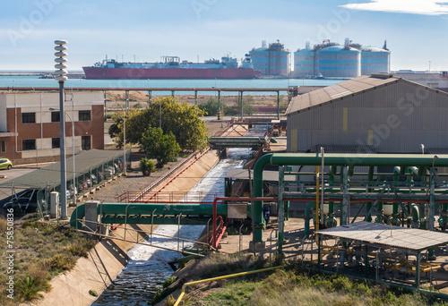 Staande foto Industrial geb. Canal De Desagüe Y Depósitos De Gas En Una Zona Industrial
