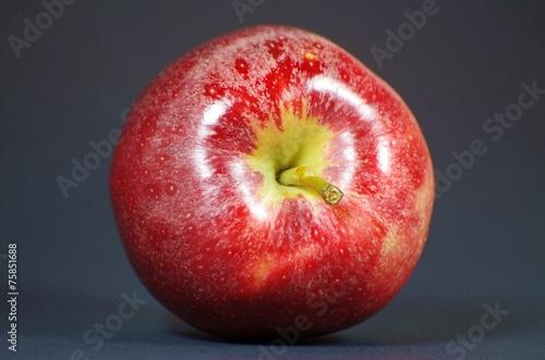 Roter Apfel vor schwarzem Hintergrund Canvas Print