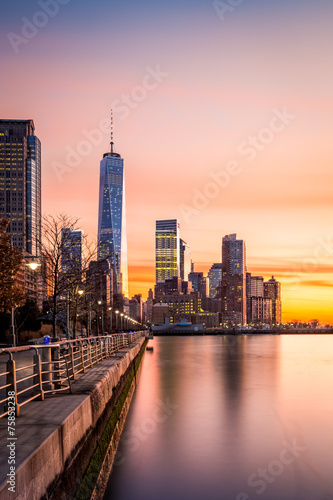 Lower Manhattan at sunset Plakat