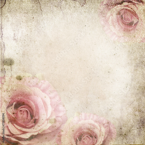 Tuinposter Retro Vintage background with roses over retro paper