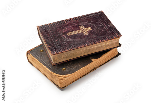 Two old bibles on white background Canvas Print