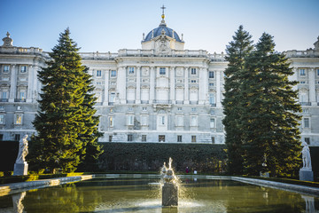 Sabatini Gardens in the Royal Palace in Madrid, classical archit