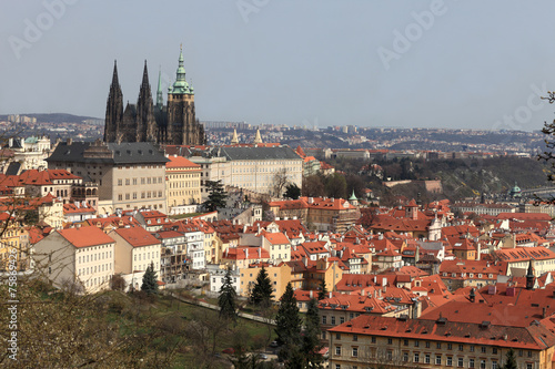 Fotografie, Obraz  View of St. Vitus Cathedral from Penrin hill