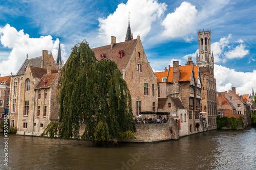 Wall Murals Bridges Buildings on canal in Bruges, Belgium