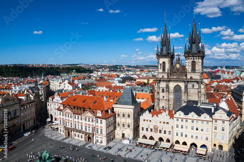 Cityscape of Old Town Square in Prague Poster