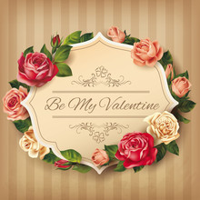 Vintage Valentine Card With Roses. Vector