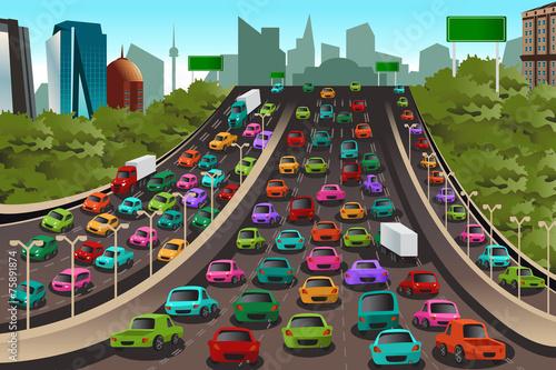 Staande foto Cartoon cars Traffic on a highway