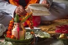 Brahmin Reading Hindu Mantra In Nepal