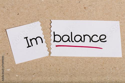 Fotografia, Obraz  Sign with word imbalance turned into balance