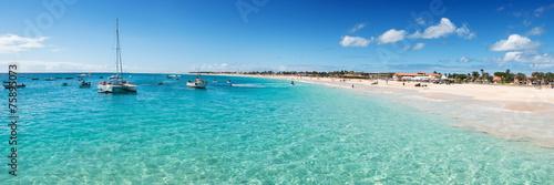 Fotobehang Panoramic view of Santa Maria beach in Sal Cape Verde - Cabo Ver