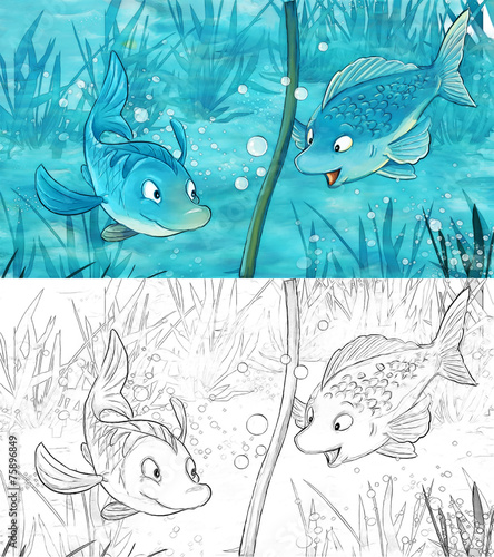 Canvas Prints Fairytale World Cartoon scene with two fishes underwater - illustration for children