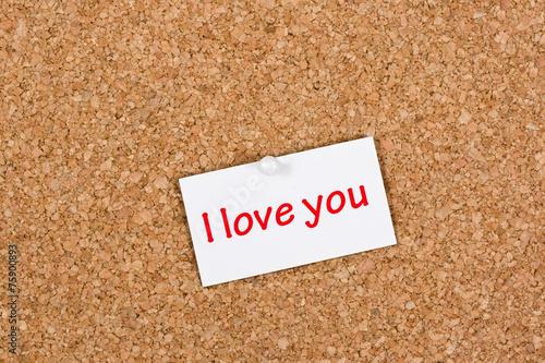 Fotografie, Obraz  I Love You Note on Pinboard