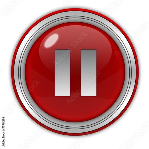Fotografie, Obraz  pause circular icon on white background