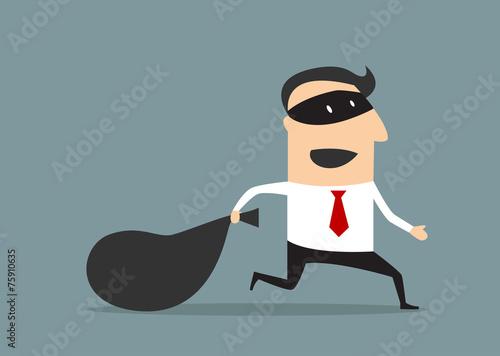 Fotografía  Thief businessman carrying money bag